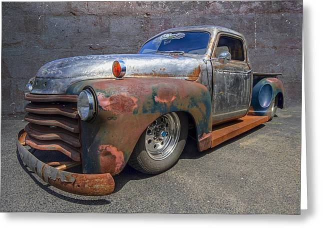 Modify Greeting Cards - 52 Chevy Truck Greeting Card by Debra and Dave Vanderlaan