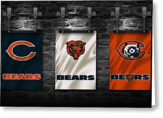 Chicago Flag Greeting Cards - Chicago Bears Greeting Card by Joe Hamilton