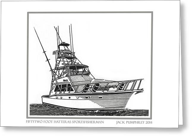 52 foot Hatteras Sportsfisherman Greeting Card by Jack Pumphrey