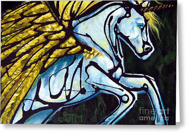 Pegasus Paintings Greeting Cards - #52 July 13th Greeting Card by Jonelle T McCoy