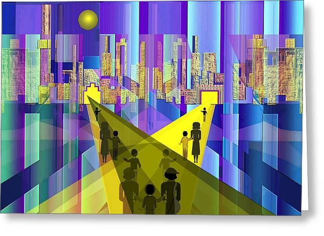 Inuu Greeting Cards - 529 - Neon City ... Greeting Card by Irmgard Schoendorf Welch
