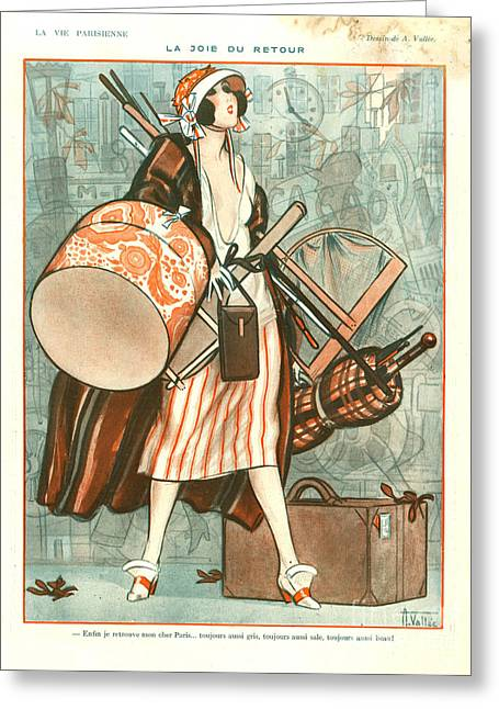 Hat Box Greeting Cards - 1920s France La Vie Parisienne Magazine Greeting Card by The Advertising Archives