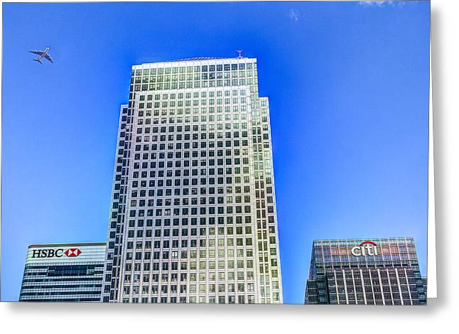 Jet Greeting Cards - Canary Wharf London Greeting Card by David Pyatt
