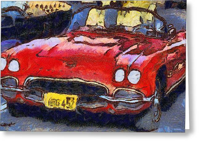 53 Greeting Cards - 53 Vette Vintage Car Greeting Card by Barbara Snyder