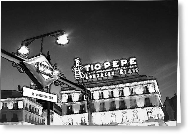53 Vodafone Sol Metro Madrid Greeting Card by Alan Armstrong