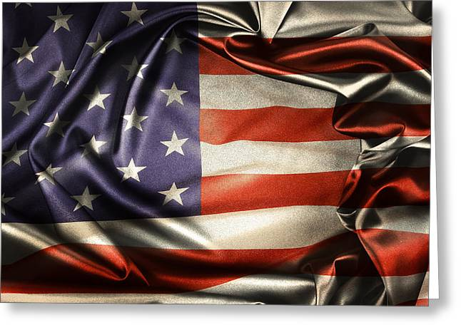 Abstract American Flag Greeting Cards - American flag  Greeting Card by Les Cunliffe