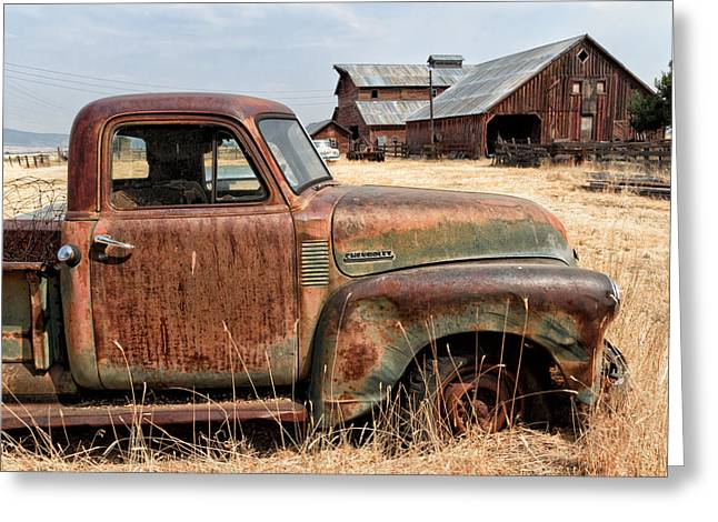Cattle-shed Digital Art Greeting Cards - 54 Chevy put out to Pasture Greeting Card by Kathleen Bishop