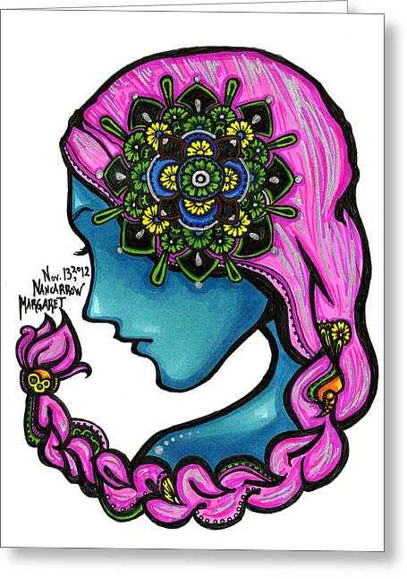 Sharpie Art Greeting Cards - 54 - Flowers in my Hair Greeting Card by Maggie Nancarrow
