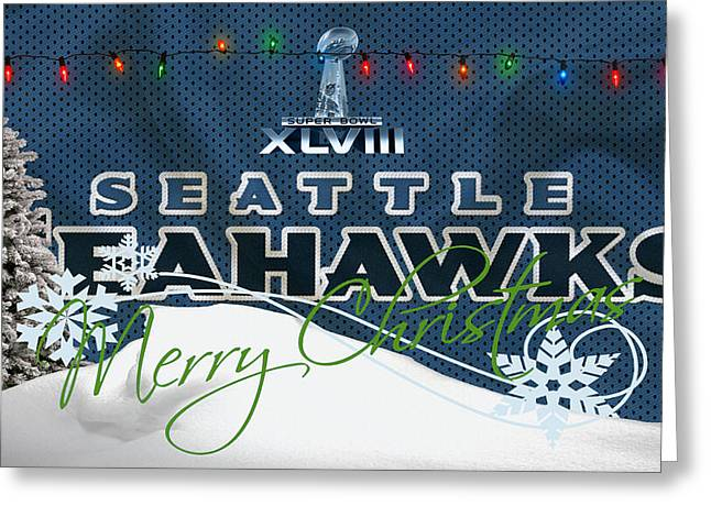 Christmas Greeting Photographs Greeting Cards - Seattle Seahawks Greeting Card by Joe Hamilton