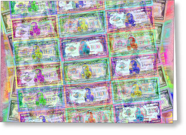 Wealth Mixed Media Greeting Cards - 540 Million Dollars Pastel Greeting Card by Tony Rubino