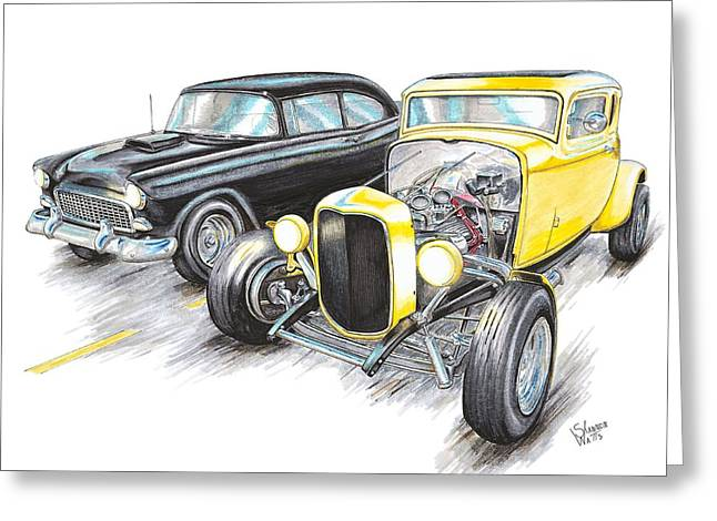 55 Chevy 32 Ford Racing Greeting Card by Shannon Watts