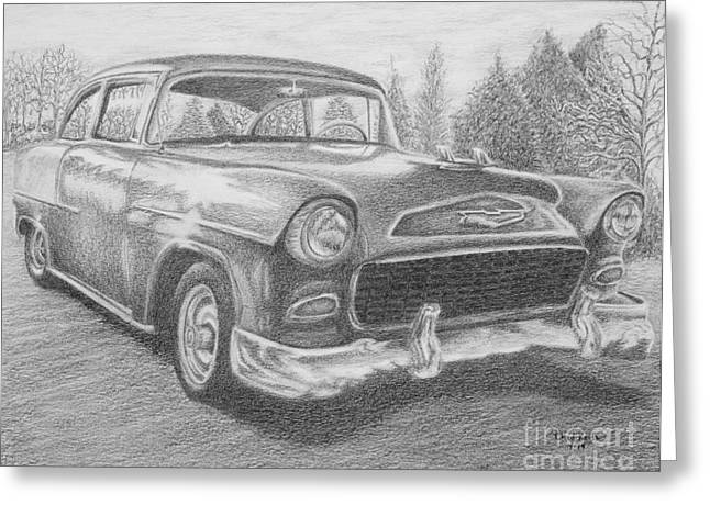 Headlight Drawings Greeting Cards - 55 Chevy Greeting Card by Chad Keith