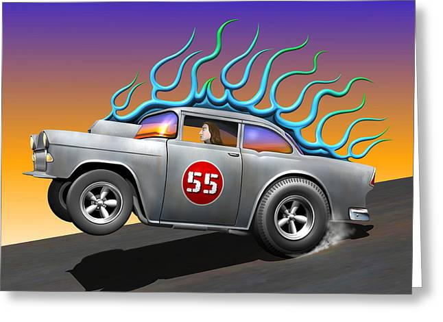 Art Of Muscle Greeting Cards - 55 Chevy Greeting Card by Stuart Swartz