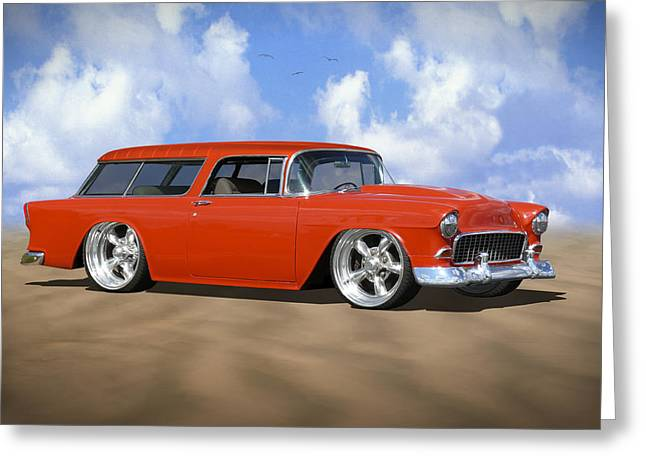 Red Street Rod Greeting Cards - 55 Nomad Greeting Card by Mike McGlothlen