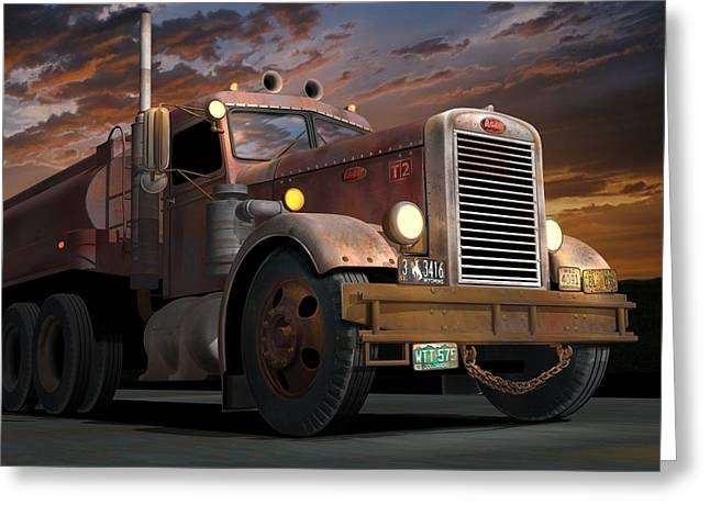Recently Sold -  - 1955 Movies Greeting Cards - 55 Peterbilt Sunset Greeting Card by Stuart Swartz