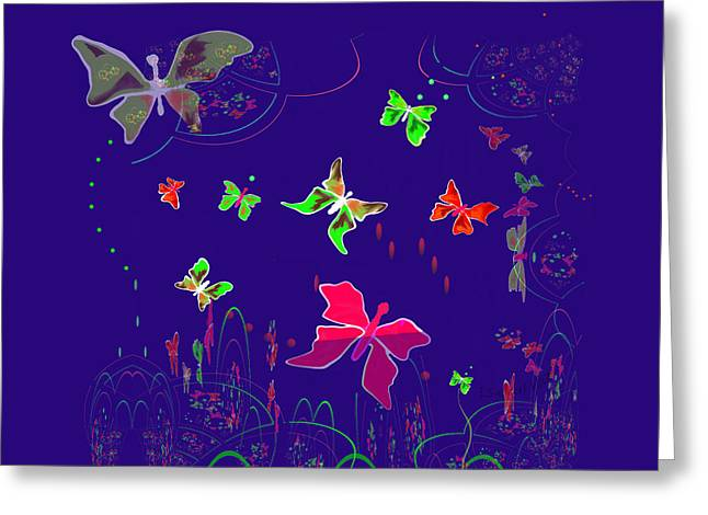 Inuu Greeting Cards - 558 - Shining Butterflies   Greeting Card by Irmgard Schoendorf Welch