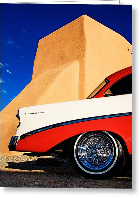 Taos Greeting Cards - 56 Chevy at the Church Greeting Card by Adam  Schallau