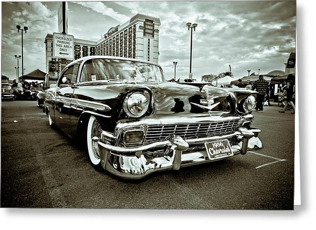 White Chevy Greeting Cards - 56 Chevy Greeting Card by Merrick Imagery