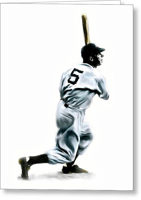 Fame Drawings Greeting Cards - 56 Joe DiMaggio Greeting Card by Iconic Images Art Gallery David Pucciarelli