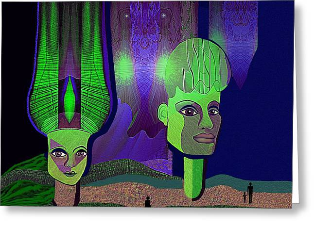 Irmgard Greeting Cards - 566 - Sphinxes in Fairyland Greeting Card by Irmgard Schoendorf Welch