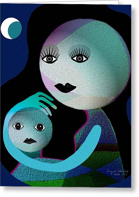 Gimp Greeting Cards - 569 - MoonMotherChild Greeting Card by Irmgard Schoendorf Welch