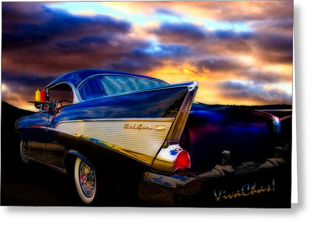 Cha-am Greeting Cards - 57 Belair Hardtop Cruise is Done Greeting Card by Chas Sinklier