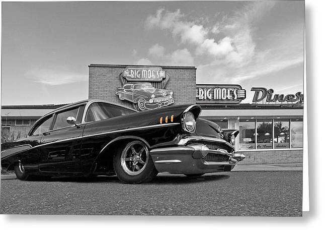 Big Block Chevy Greeting Cards - 57 Black Chevy at the Diner Black and White Greeting Card by Gill Billington