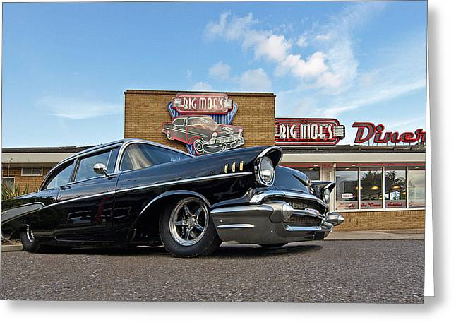 Big Block Chevy Greeting Cards - 57 Black Chevy at the Diner Greeting Card by Gill Billington