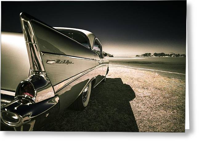 Custom Automobile Greeting Cards - 57 Chevrolet Bel Air Greeting Card by motography aka Phil Clark