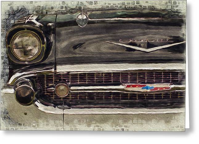 Warp Speed Greeting Cards - 57 Chevy Belair  Greeting Card by Jack Zulli