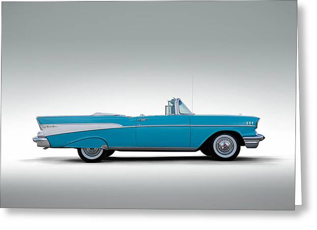 Auto Greeting Cards - 57 Chevy Convertible Greeting Card by Douglas Pittman