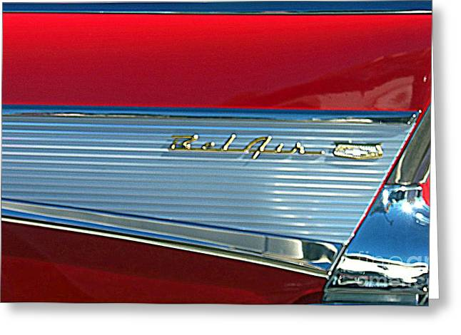 American Grafitti Greeting Cards - 57 Chevy Fin Greeting Card by Bobbee Rickard