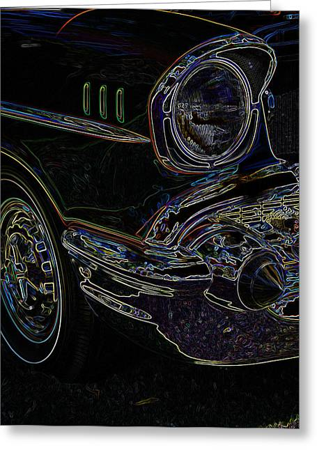 32 Ford Truck Greeting Cards - 57 Chevy Glow Greeting Card by Steve McKinzie