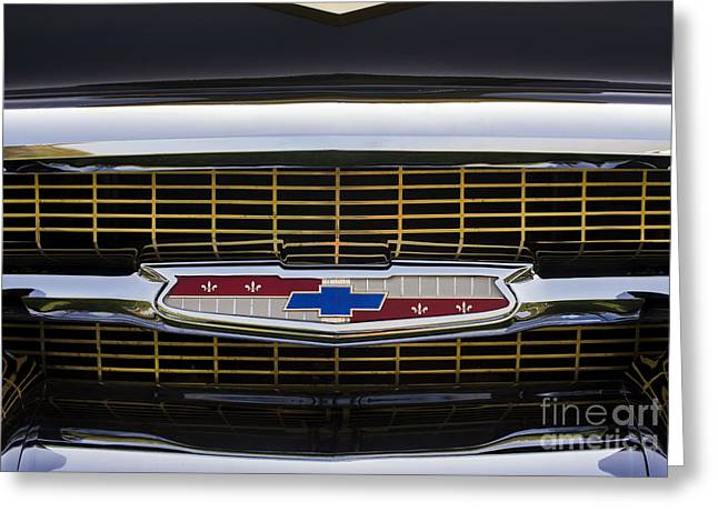 Custom Grill Greeting Cards - 57 Chevy Grille  Greeting Card by Tim Gainey