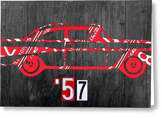 Road Trip Greeting Cards - 57 Chevy License Plate Art Greeting Card by Design Turnpike