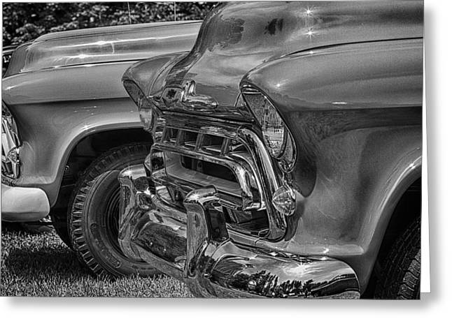 Barrington Greeting Cards - 57 Chevy Pickups In Black n White Greeting Card by Jeff Sinon