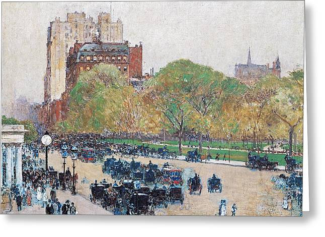 New York Evening Post Greeting Cards - Spring Morning in the Heart of the City Greeting Card by Childe Hassam