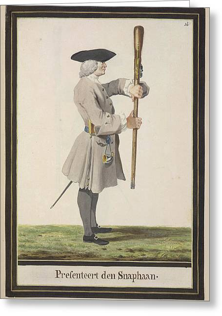 Dutch Military Costurmes And Musket Exerc Greeting Card by British Library