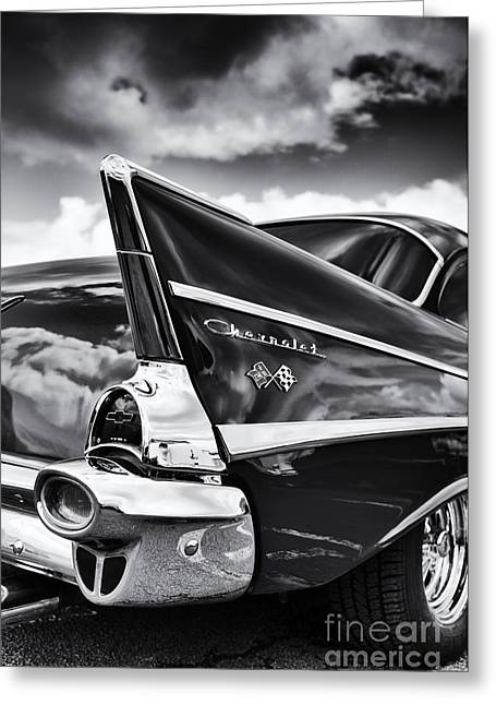 General Motors Company Greeting Cards - 57 Monochrome Greeting Card by Tim Gainey