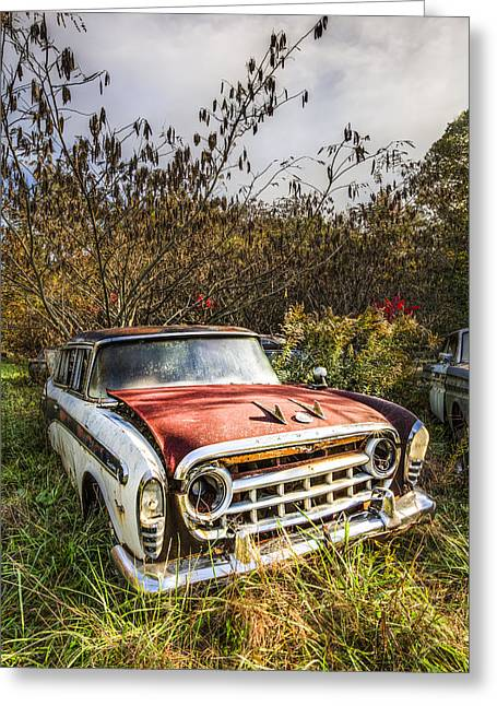 Rusted Cars Greeting Cards - 57 Rambler Greeting Card by Debra and Dave Vanderlaan