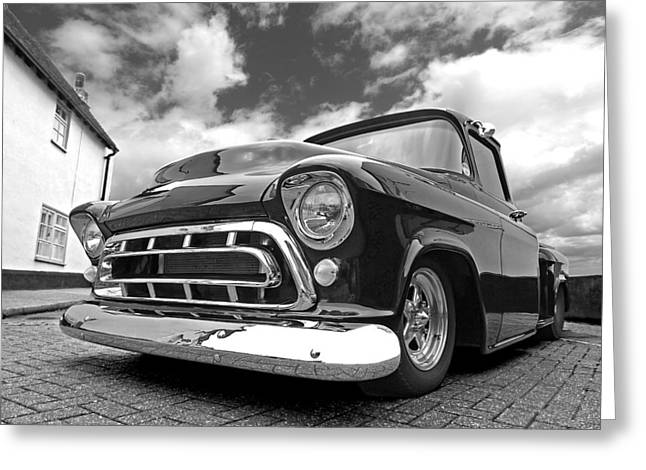 Chevy Pickup Greeting Cards - 57 Stepside Chevy in Black and White Greeting Card by Gill Billington