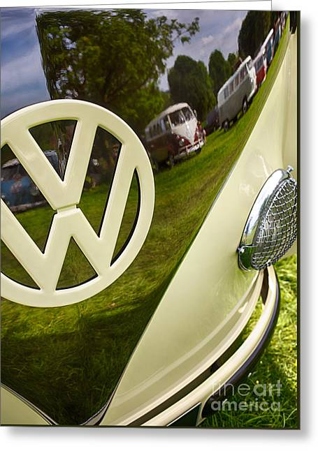 Vdub Greeting Cards - 57 VW Reflections HDR Greeting Card by Tim Gainey