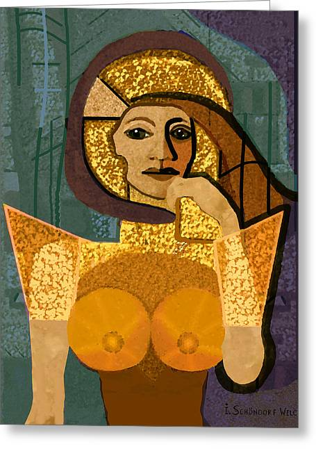 Maiden Greeting Cards - 570 - Lady Warrior Greeting Card by Irmgard Schoendorf Welch