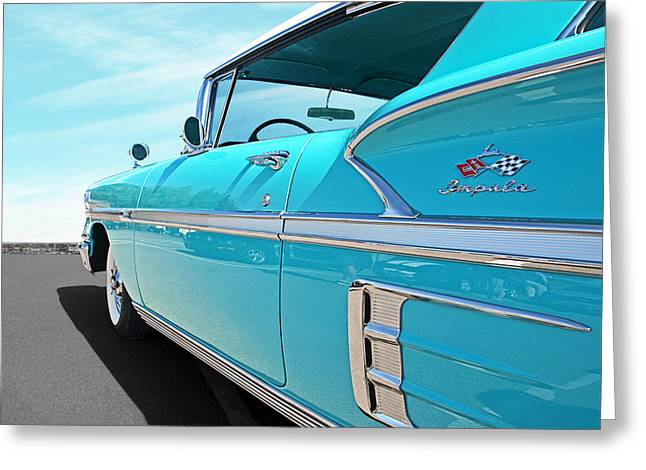 Geometric Image Greeting Cards - 58 Chevy Impala in Turquoise Greeting Card by Gill Billington