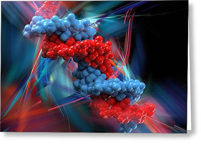 Helix Greeting Cards - Dna Molecule, Artwork Greeting Card by Laguna Design