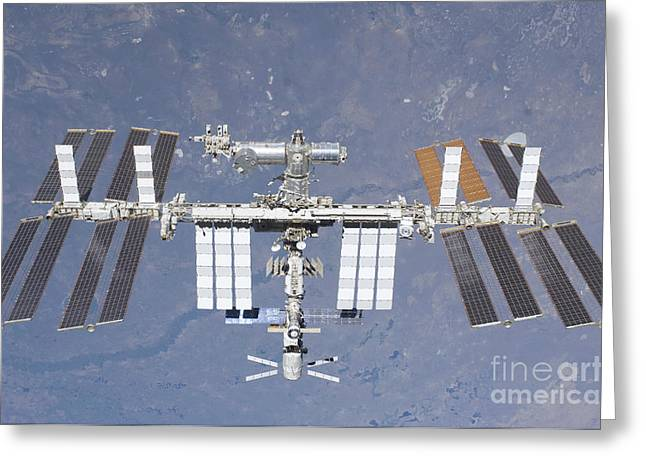 Planet Earth Greeting Cards - The International Space Station Greeting Card by Stocktrek Images