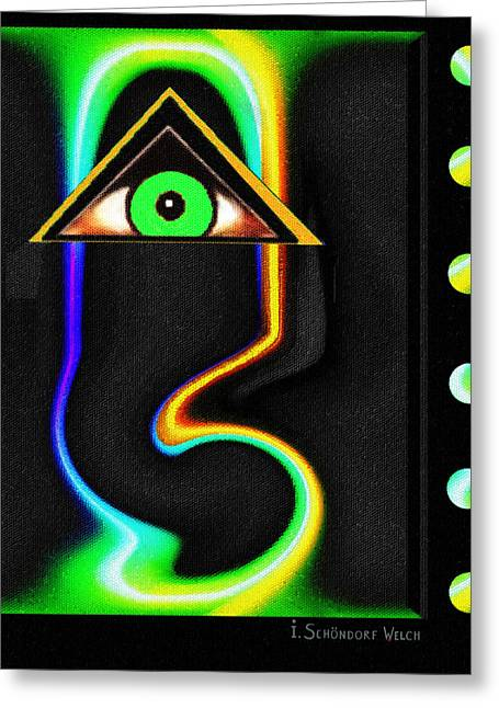 Empty Eyes Greeting Cards - 587 - Portrait with empty eye Greeting Card by Irmgard Schoendorf Welch
