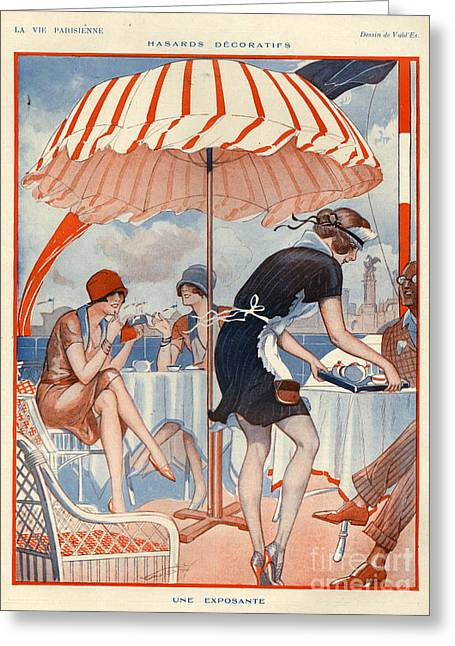 Waitress Drawings Greeting Cards - 1920s France La Vie Parisienne Magazine Greeting Card by The Advertising Archives