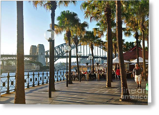 5pm At The Sydney Cove Oyster Bar Greeting Card by Kaye Menner