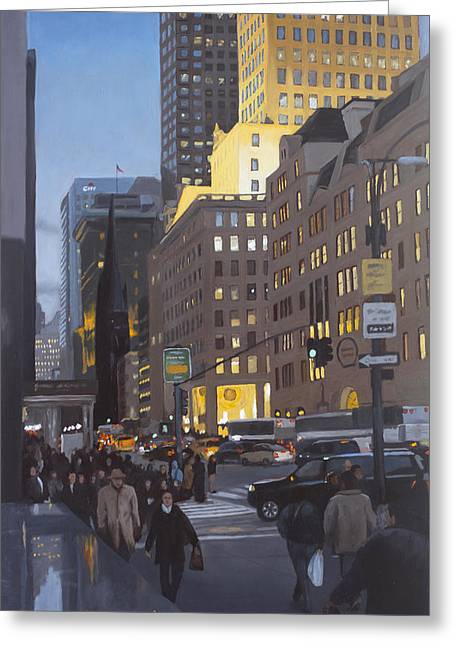 Gotham City Paintings Greeting Cards - 5th at Twilight Greeting Card by Linda Tenukas